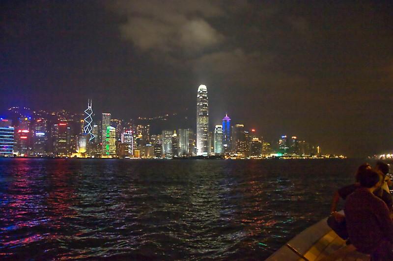 Hongkong Hafen Central nachts
