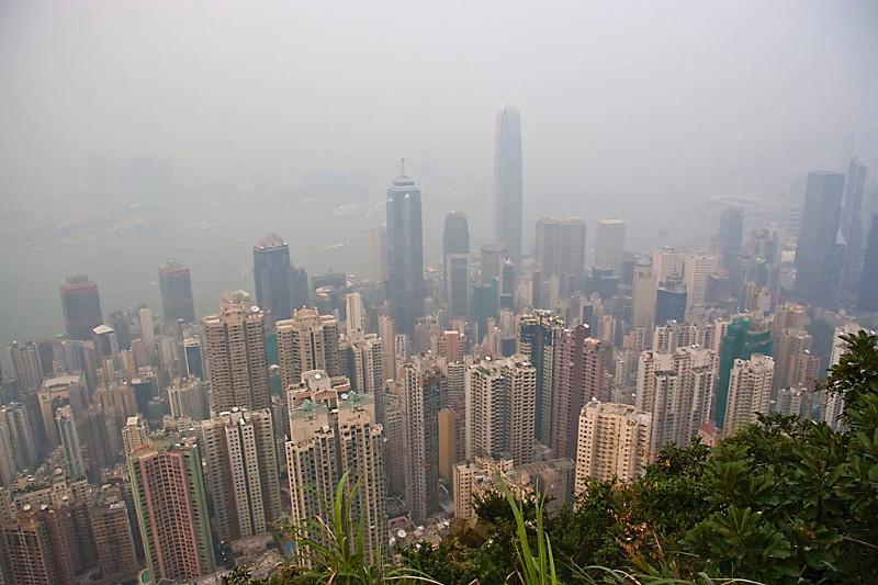 Hongkong Central und Hafen vom Victoria Peak aus