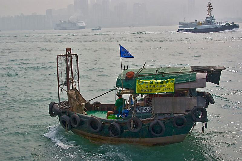 Hongkong Hafen Dschunke