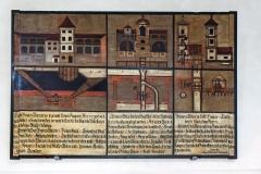 historische Schautafeln im Wasserturm