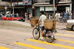 Hongkong City Radfahrer Fahrradtransporter